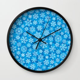 snowflakes background (winter design) Wall Clock