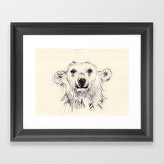 Polar Bear Smiling Black and White Framed Art Print