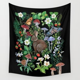 Rabbit and Strawberry Garden Wall Tapestry