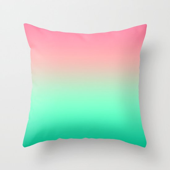 Mermaid Pink Teal Gradient Throw Pillow