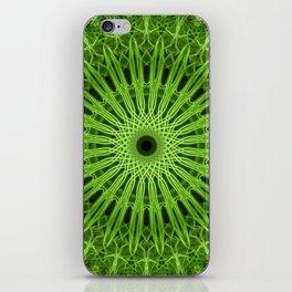 Bright green mandala iPhone Skin