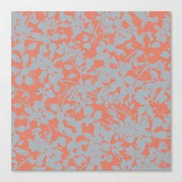 Floral Silhouette Pattern - Broken but Flourishing in Coral Canvas Print