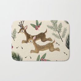 winter deer // repeat pattern Bath Mat