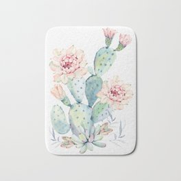 Prettiest Cactus Rose Watercolor by Nature Magick Bath Mat