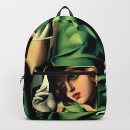 Girl in a Green Dress Art Deco Haute Couture portrait painting Tamara de Lempicka Art Print Backpack