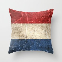 Vintage Aged and Scratched Dutch Flag Throw Pillow