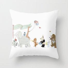 littlest parade Throw Pillow