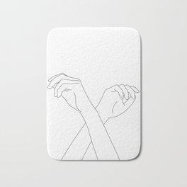 Crossed hands line drawing - Edie Bath Mat