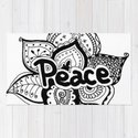 Peace lotus Motto saying mandala floral pattern by zebrafish