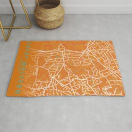 Great Malvern, England, Gold, Blue, City, Map Rug