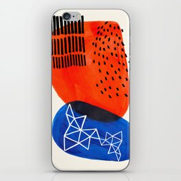 Mid Century Modern abstract Minimalist Fun Colorful Shapes Patterns Orange Blue Bubbles Organic iPhone Skin