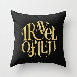 Travel in Gold Throw Pillow