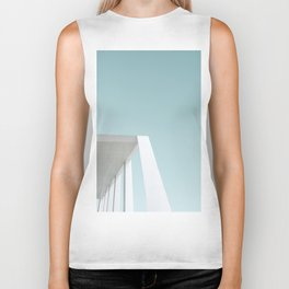 Blue and White Minimalism Biker Tank