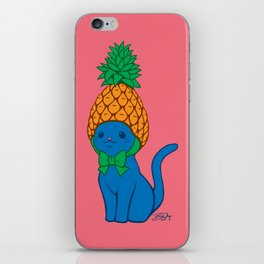 Blue Cat Wears Pineapple Hat iPhone Skin