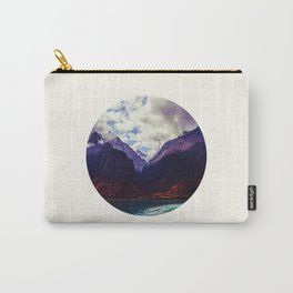 Mid Century Modern Round Photo Purple Parallax Mountains Meets Blue Valley Lake With Autumn Trees Carry-All Pouch