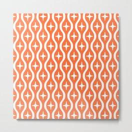Mid century Modern Bulbous Star Pattern Orange Metal Print