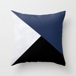 Colour Block Marble Blue Throw Pillow