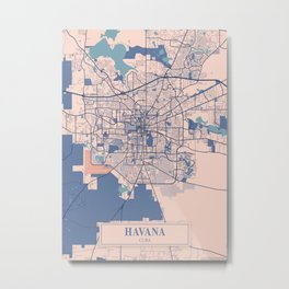 Havana - Cuba Breezy City Map Metal Print