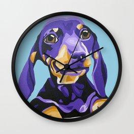 Dachshund Portrait in Blue Wall Clock