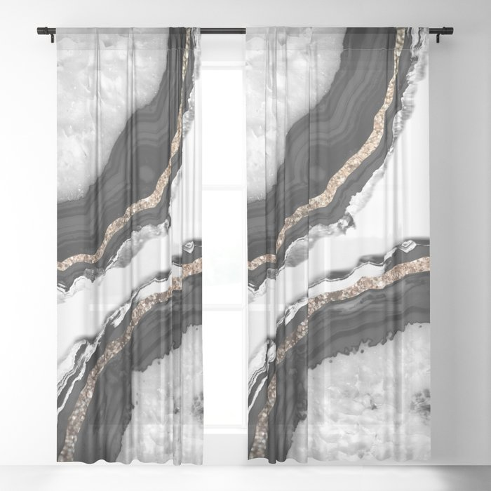Agate Glitter Glam #2 #gem #decor #art #society6 Sheer Curtain