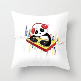 D.J Panda Throw Pillow