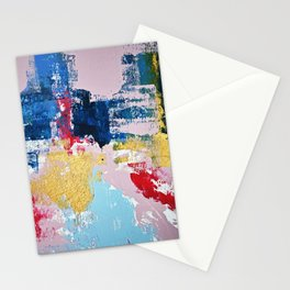 Metropolis: a vibrant abstract piece in pink blue red and gold by Alyssa Hamilton Art  Stationery Cards