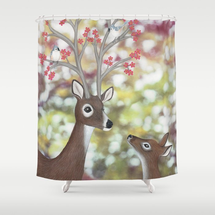 White Tailed Deer Tufted Titmice Cherry Blossoms Shower Curtain By Sarahknight