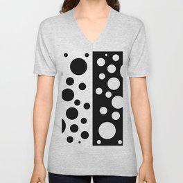 Black and White Spotted Design Unisex V-Neck