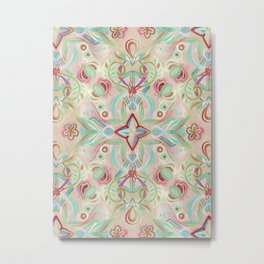 Soft Marsala and Sage Pattern Metal Print