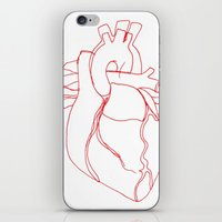 anatomical heart iPhone & iPod Skins featuring Anatomical heart by Laurel Howells