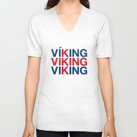 viking V-neck T-shirts featuring VIKING by eyesblau