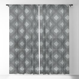 PPG Night Watch Pewter Green Zigzag, Diamond Square Pattern Sheer Curtain
