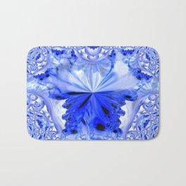 Crystal Blue Fractal Abstract Bath Mat