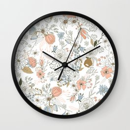 Abstract modern coral white pastel rustic floral Wall Clock
