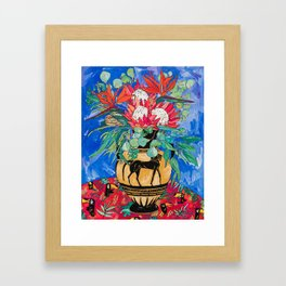 Tropical Protea Bouquet with Toucans in Greek Horse Urn on Ultramarine Blue Framed Art Print