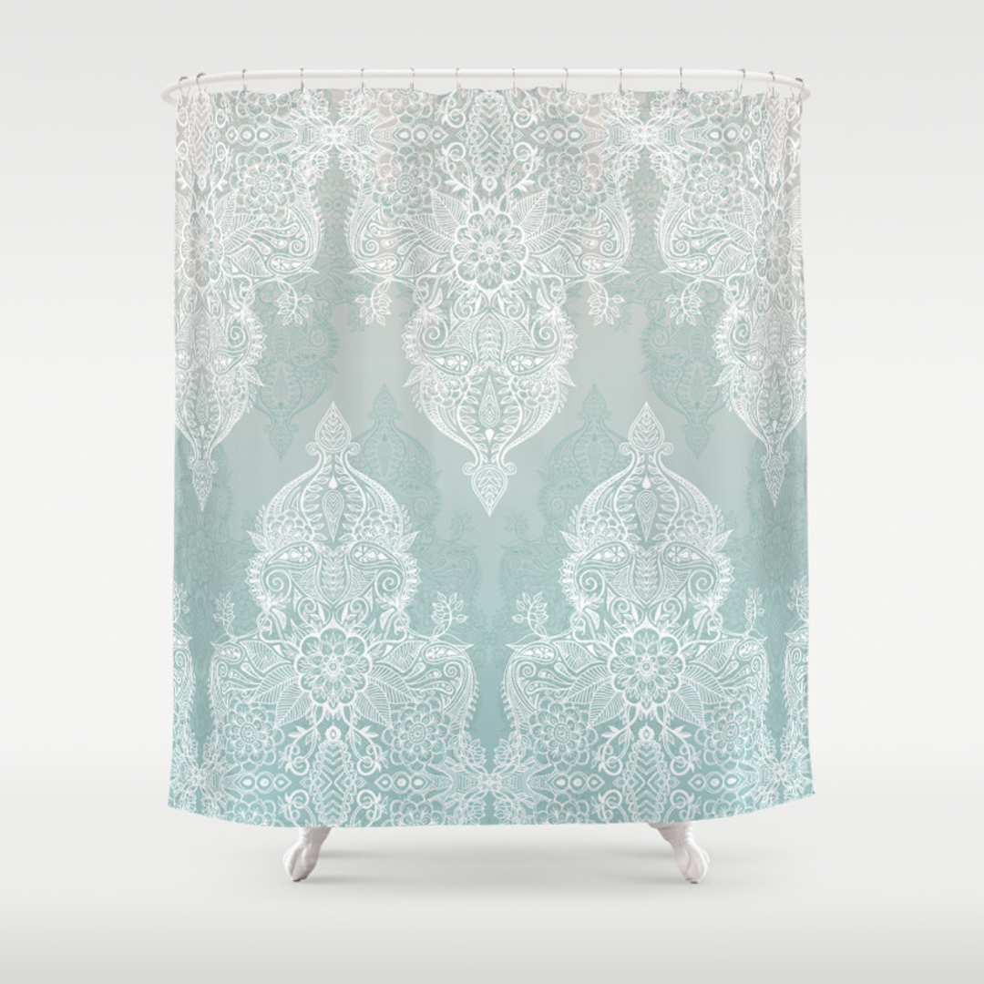 grey and turquoise shower curtain.  Nature Pattern and Vintage Shower Curtains Society6