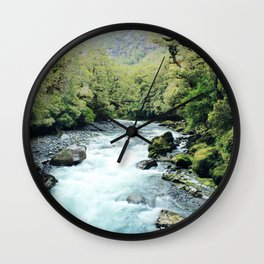 New Zealand river Wall Clock
