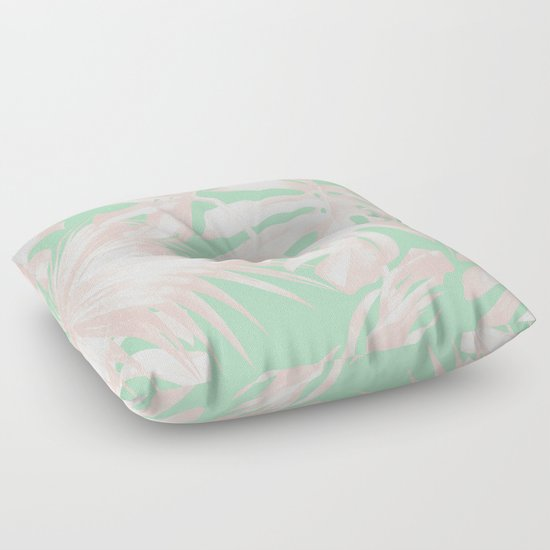 Green Floor Pillows : Tropical Palm Leaves Coral Pink Mint Green Floor Pillow by Simple Luxe Society6