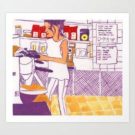 Barista Girl Art Print