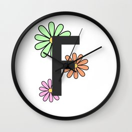 Floral Letter F Wall Clock