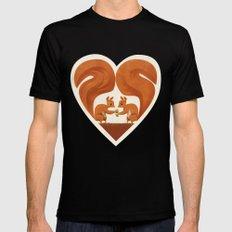 Love Heart Squirrels Mens Fitted Tee MEDIUM Black