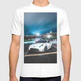 white 370z nismo parked with light streaks T-shirt