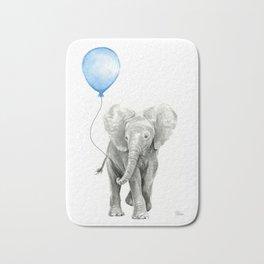 Baby Animal Elephant Watercolor Blue Balloon Baby Boy Nursery Room Decor Bath Mat