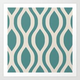 Pretty Ogee Pattern 431 Teal and Beige Art Print