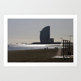 Sun light & water in Barceloneta Art Print