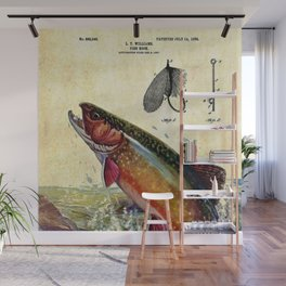 Vintage Trout Fly Fishing Lure Patent Game Fish Identification Chart Wall Mural