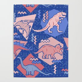 Nineties Dinosaurs Pattern  - Rose Quartz and Serenity version Poster