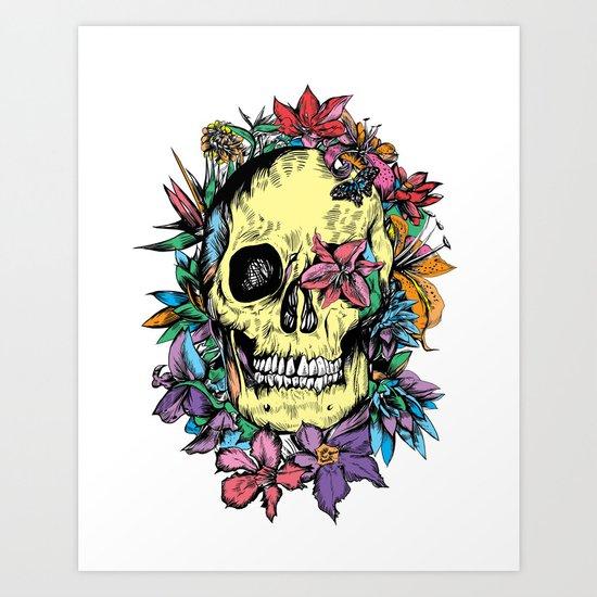 floral skull colorful drawing Art Print