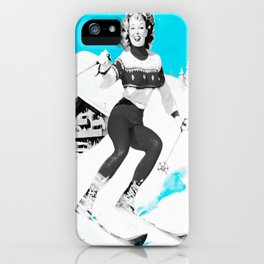 Snow Bunny Pin Up Girl Turquoise iPhone Case