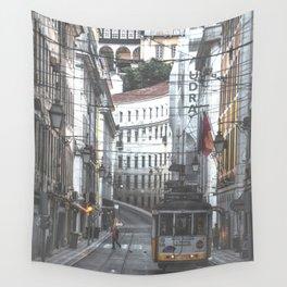 Lisbon Street Tram Wall Tapestry